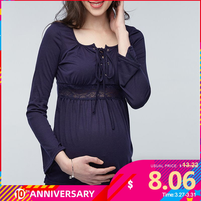 VONDA 2020 Spring Pregnant Women Long Sleeve Tops Sexy Pregnancy Lace Splice Blouses Shirts Casual Maternity Clothings Plus Size