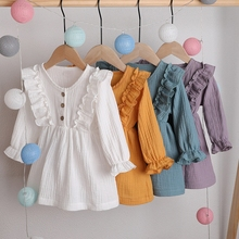 12M-5Y Baby Girl Ruffle Fly Sleeve Linen Dress New Kids Girl