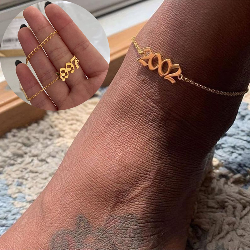1980 - 2000 Birth Year Anklet Chain Ankle Bracelet Jewelry Stainless Steel Rose Gold Best Friend Gifts