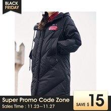 INMAN kapüşonlu baskı eğlence bayan kadın kız kış uzun ördek aşağı deri sıcak tutan kaban kadın ceketler moda palto