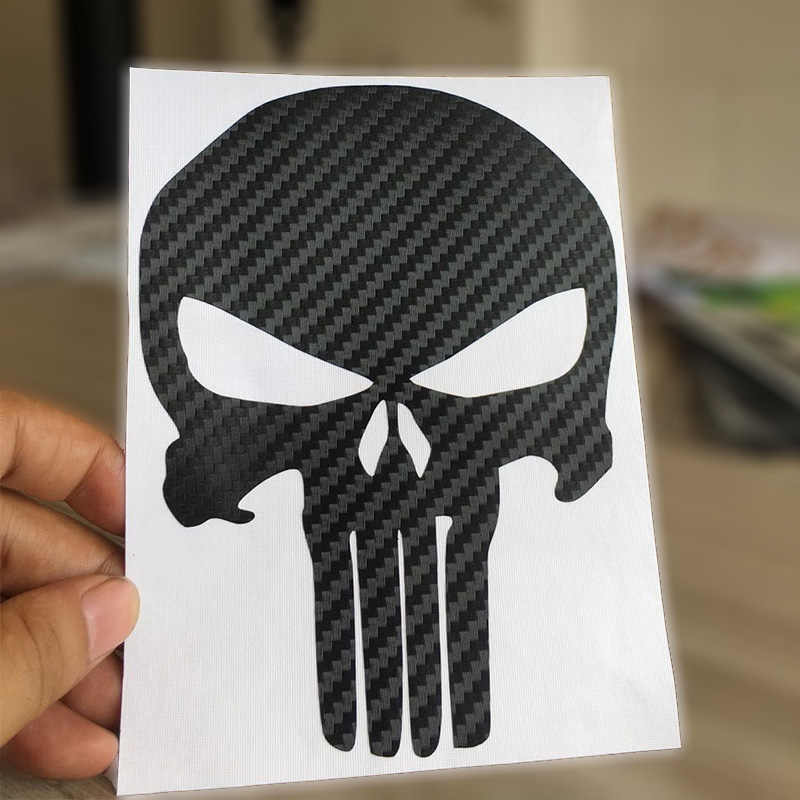 HungMieh 15*11.2cm Motorfiets Sticker Koolstofvezel Punisher Skull Moto Stickers Auto Decal Vinyl Grappig JDM voor yamaha suzuki