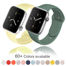 Soft Silicone Band for Apple Watch Series 6 5 4 3 2 SE 38MM 42MM Rubber Watchband Strap