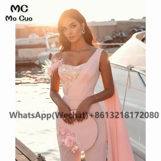 2021 Chic Jumpsuit Prom Dresses Pants One Shoulder Celebrity Dress Appliques Feather Sweetheart Prom Dress for women 2