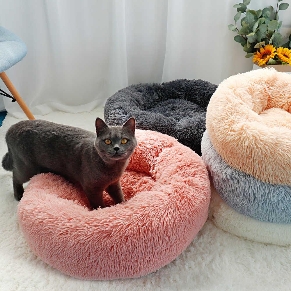 Dài Sang Trọng Giường Mèo Nhà Tròn Mềm Mại Giường Mèo Mùa Đông Cho Thú Cưng Chó Đệm Thảm Dành Cho Chó Nhỏ Mèo Tổ Ấm Áp chó Con Chó Giống 50/60/70 Cm