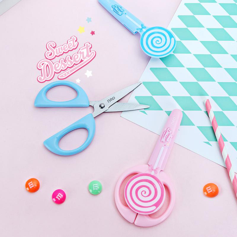 JIANWU Sweet Lollipop Pink Safety Portable Scissors Home Furnishing Soft Decoration Art Tool DIY School Office Supplies