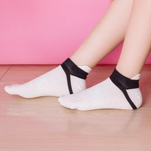 Women Sport Socks Short Tube Fitness Comfortable Five-finger Cotton Stitching Color Finger-separated