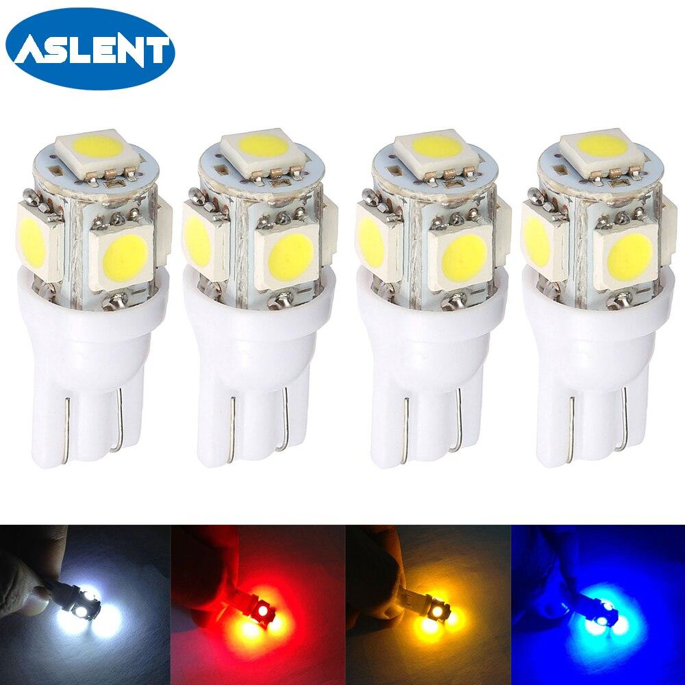 Aslent 4Pcs W5W 5-5050 SMD Auto T10 LED 194 168 Keil Ersatz Instrument Panel Lampe Weiß Blau lampen Für Freiheit Lichter 12v