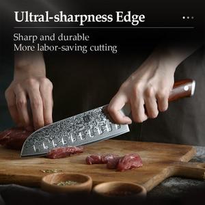 Image 5 - XINZUO 3PCS Pro מטבח סטי סכין יפני מזויף דמשק פלדה שף Santoku סכיני נירוסטה Rosewood ידית סכין שף