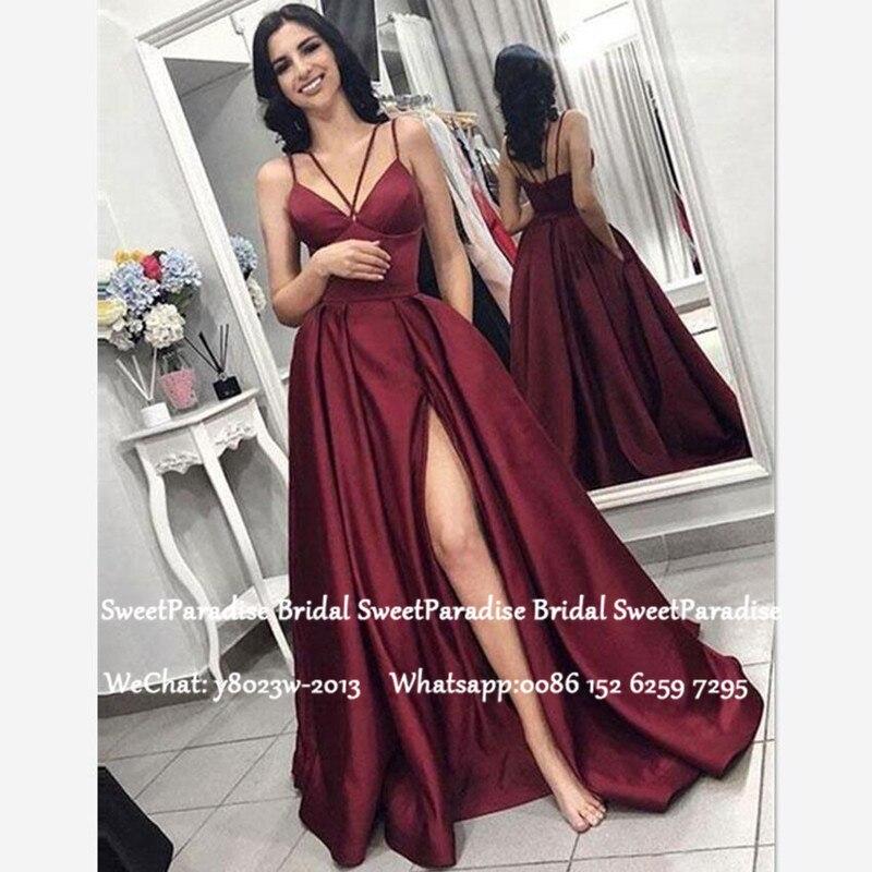 Burgundy Satin Long Bridesmaid Dresses 2020 Sexy Side Split Women A Line Formal Wedding Guest Dress Robe Demoiselle D'honneur