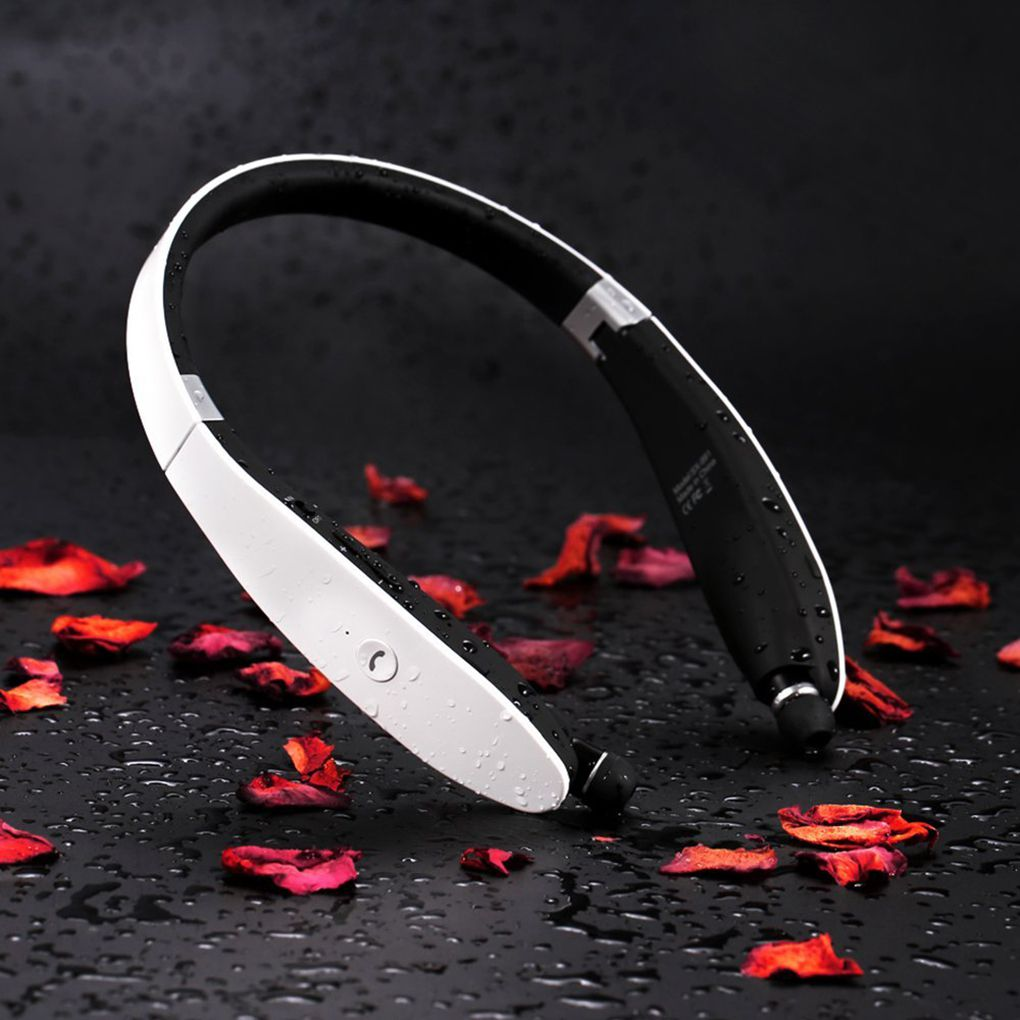 Brand New Bluetooth 4.1 Noise Reduction Wireless Headset Retractable Foldable Neckband Headphones image