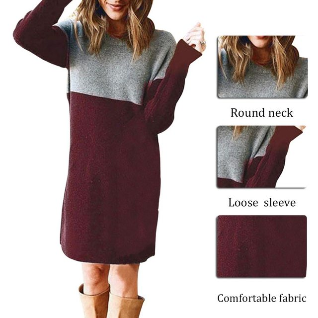 Women Autumn Dress Long Sleeve Stripe Patchwork O-neck Mini Dress Fashion Clothing Loose Casual Autumn Winter Vestido 5
