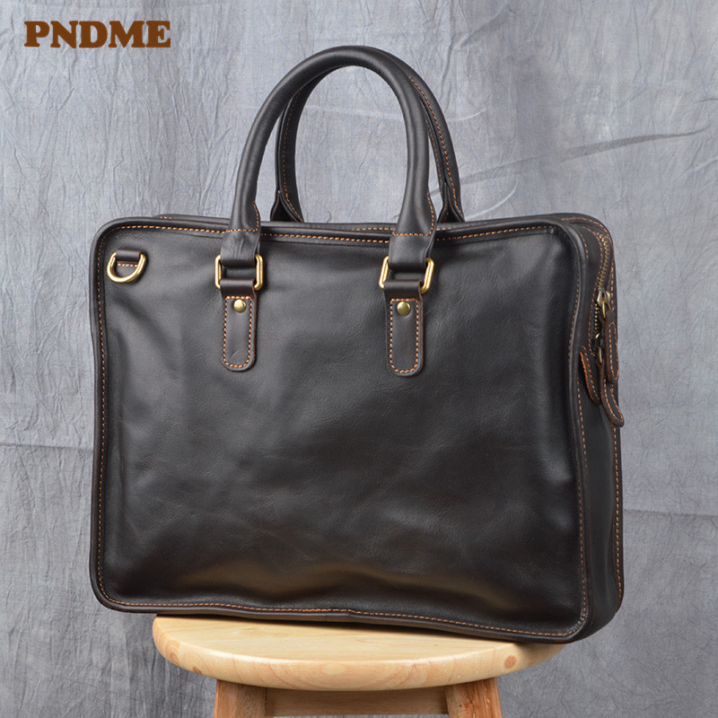 PNDME Simple Casual Genuine Leather Men's Briefcase Business Fashion Vintage Luxury Cowhide Work Laptop Shoulder Messenger Bags