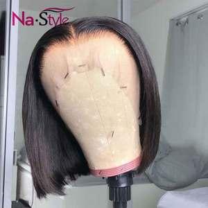Image 2 - Peluca de corte Pixie Bob con encaje frontal pelucas de cabello humano prearrancado 6x6 cierre peluca 13x4 recta Bob pelucas de cabello humano corto pelucas de cabello humano 130 Remy
