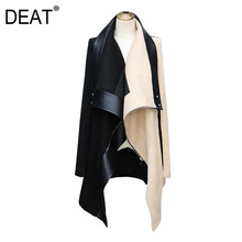 Wool Jacket Coat Collar Winter Fashion Women New Scarf DEAT Patchwork Full WO6901L Contrast-Colors