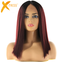 Short Bob Lace Front Synthetic Hair Wigs Ombre Black Green Red Color X TRESS Yaki Straight Middle Part Blunt Lace Wig For Women