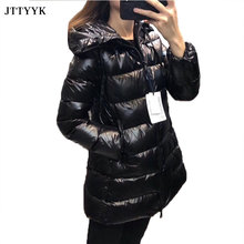 2021 Winter Clothes Women Medium Length Zipper Black Puffer Jacket  White Duck Down Coat Fashion Hooded Snow Coat Feather Parkas