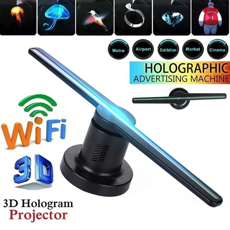 42cm nouveau ventilateur de projecteur hologramme 3D Wifi avec 16G TF 224 LEDs holographique magasin Logo lampe publicité partie décorations affichage