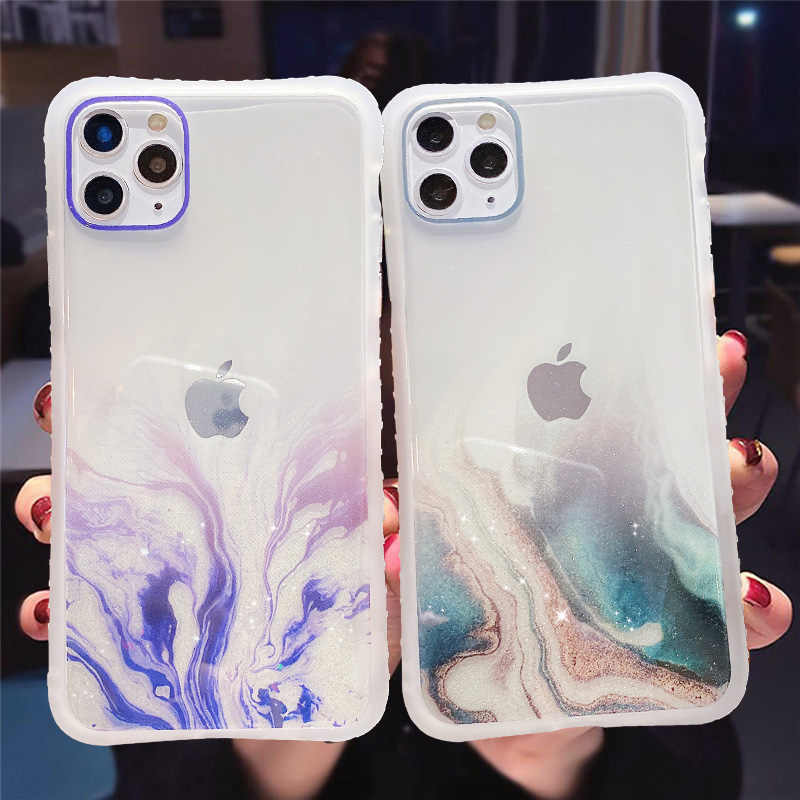 Gradiënt Marmeren Textuur Glitter Phone Case Voor Iphone 11 11Pro Max Xr Xs Max X 6S 7 8 Plus 11Pro Se 2020 Transparant Back Cover