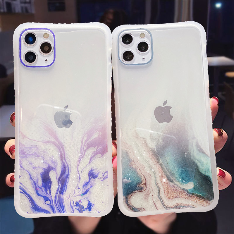 Градиентная мраморная текстура блестящий чехол для телефона iPhone 11 11Pro Max XR XS Max X 6S 7 8 Plus 11Pro SE 2020 прозрачная задняя крышка Специальные чехлы      АлиЭкспресс