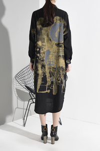 Image 5 - [EAM] Women Black Patter Print Split Big Size Shirt Dress New Lapel Long Sleeve Loose Fit Fashion Spring Autumn 2020 1M92501