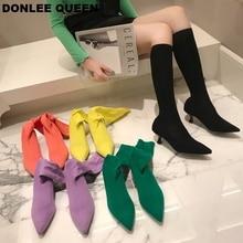 Ботильоны для женщин; ботинки с острым носком; ботинки на тонком каблуке; женская обувь; модные эластичные вязаные вечерние ботинки ярких цветов; mujer