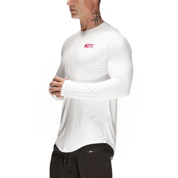 Koszulka do biegania Mesh Quick Dry Fit T Shirt Man Sport koszulka z długim rękawem Fitness męska tenisowa koszulka piłkarska odzież sportowa odzież sportowa tanie i dobre opinie VQ FITNESS AUTUMN spandex Pasuje prawda na wymiar weź swój normalny rozmiar youth Men Man Male Spring Autumn Winter White gray black Army Green