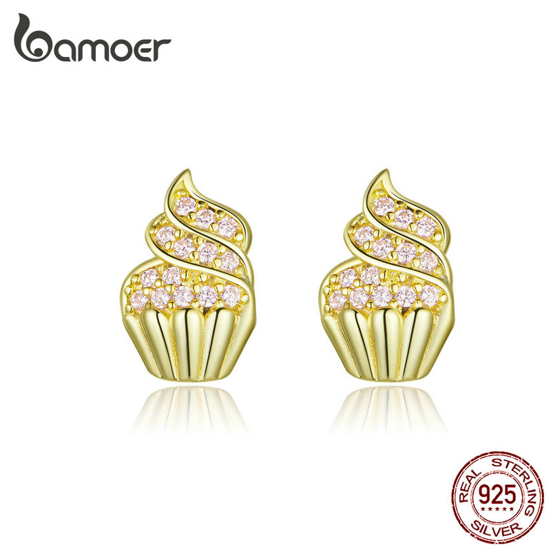 Genuine 925 Sterling Silver Cupcake Cup Cake Stud Earrings Studs Girls Women