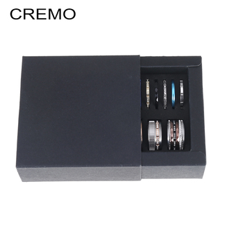 Cremo Stackable Stainless Steel Ring Set interchangeable Accessories Femme Bijoux Bague Fashion Rings Jewelry Box