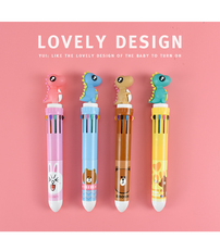 Cute Dinosaur Ballpoint Pen. Cartoon 10 Colors. Press Ball Point Pen. Student Multi-function Mark Ball Point Pen diamond ballpoint pen japanese cartoon sailor moon pen goddess scepter kawaii pen student pennen pink cute girl ball point pens