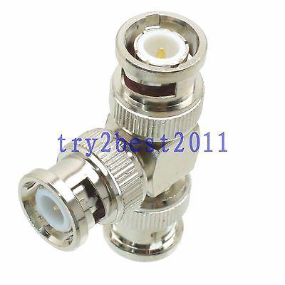 DHL/EMS 50 pcs Adapter connector BNC plug pin to 2x BNC plug pin T Splitter RF COAXIAL -C1