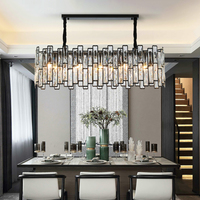 Rectangle Black Crytsal Chandelier Modern Luxury Indoor lightings Led Ceiling Hanging lamp for dining room luxury kitchen island