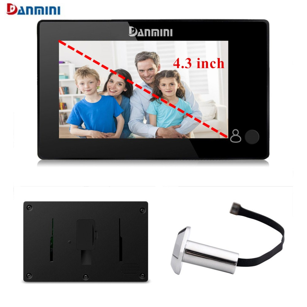 Danmini YB-43CH Mini Electronic Cat Eye 4.3 Inch Color Screen Door Peephole Viewer 145 Degrees Wide Angle Door Camera Monitor