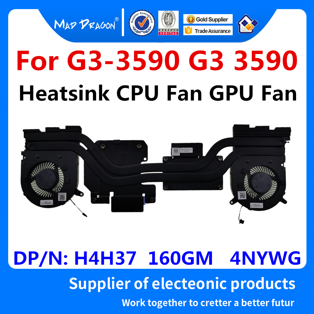 New original laptop CPU Fan GPU Fan Heatsink Fan Assembly For <font><b>Dell</b></font> G3-<font><b>3590</b></font> G3 <font><b>3590</b></font> 0H4H37 H4H37 0160GM 160GM 04NYWG 4NYWG image