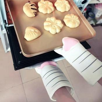 2 sztuk kot łapy rękawice kuchenne Cute Cartoon zwierząt rękawice Folder piekarnik rękawice ciepła rezydent rękawice kuchenne antypoślizgowe rękawice tanie i dobre opinie BND-431 COTTON Antypoślizgowa Drukowane