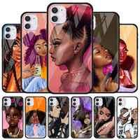 Vidrio Templado funda para teléfono para iPhone 11 12 Pro MAX 12 Mini XR 7 8 SE X XS X MAX 6 6s Plus 7 + 8 + Africana belleza Afro Puffs
