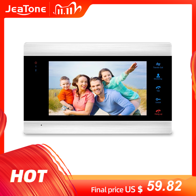 JeaTone 7 Inch Indoor Monitor Video Door Phone Doorbell Intercom System Video Recording Photo Taking Silver Wall Mounting