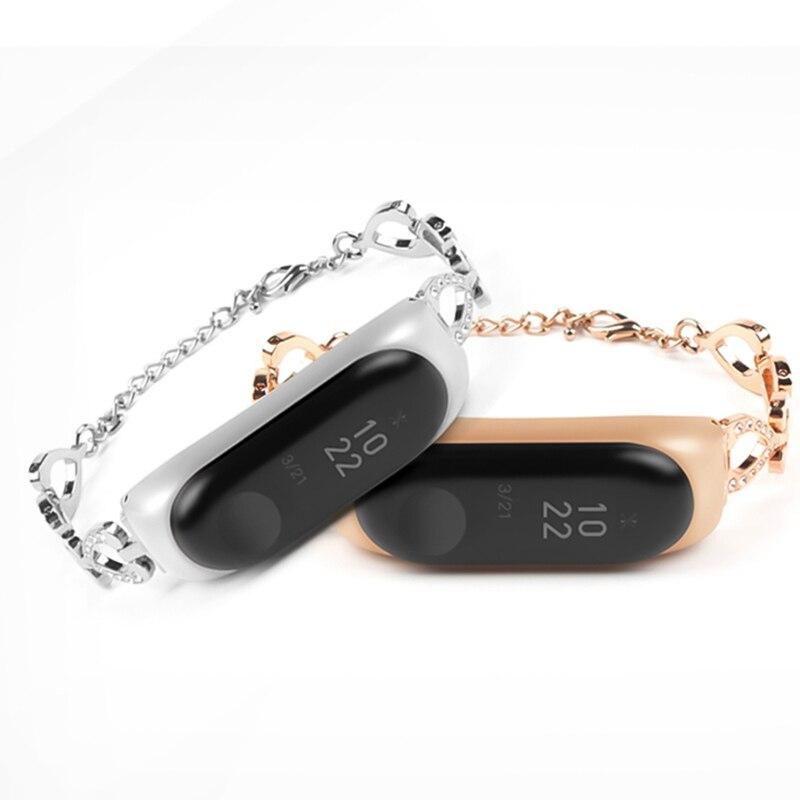 Bracelet métal poignet en forme de coeur chaîne sangle cadeau pour femme Bracelet bracelets pour Xiao mi mi bande 3/4