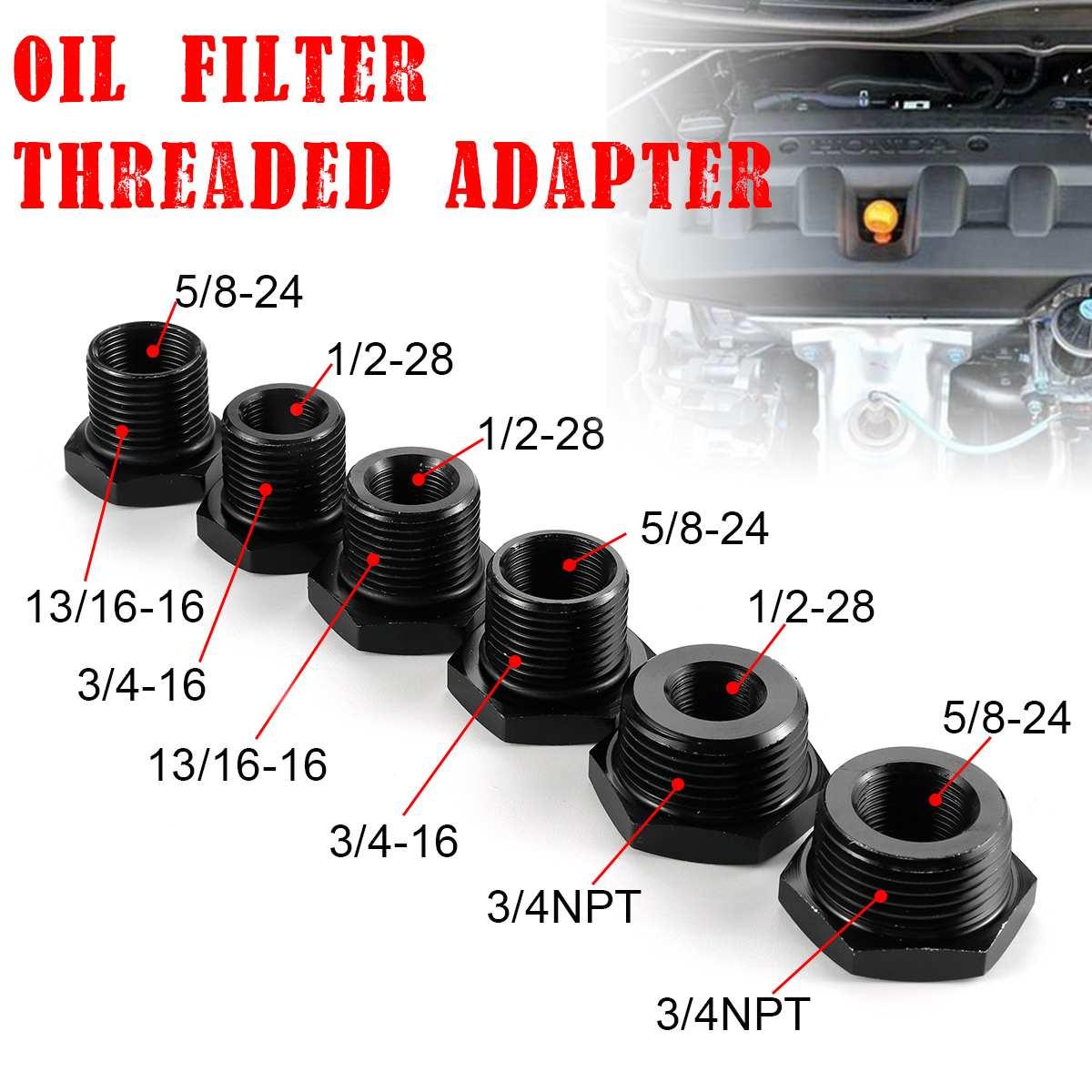 Adaptador de filtro de aceite de coche de acero 1/2 Uds 1/2-28/5/8-24 A 3/4-16/13/16-16/3/4 NPT para STP S3600