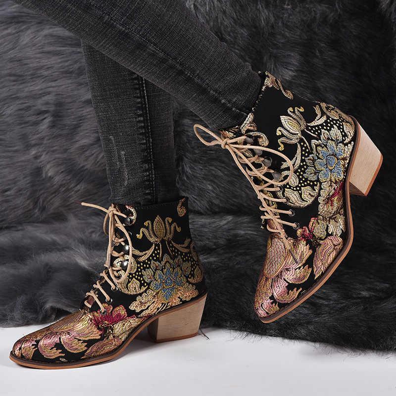Retro Bohemian kadın botları baskılı ayak bileği Vintage motosiklet patik bayanlar ayakkabı kadın 2019 yeni oyalamak yüksek topuklu çizmeler