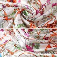 Square Silk Scarf 2021 Fashion Silk Satin Print Small Head scarf Headscarf Neck Bandana Shawl T4O0 Female Women Accesso Ker G9R3