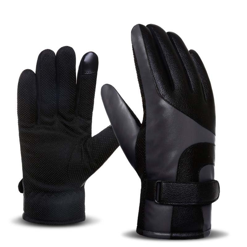 Winter Men's Warm Leather Gloves Plus Velvet Touch Screen Thick Gloves