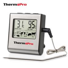 ThermoPro TP16 cyfrowy termometr do mięsa na grilla Grill piekarnik termometr z zegarem i sonda ze stali nierdzewnej gotowanie termometr kuchenny tanie tanio Meat thermometer Gospodarstw domowych termometry Metal 0C to 250C 6 5 0 18 lbs (82 g) CE certified RoHS FDA approved probe