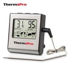 ThermoPro Termómetro digital para cocina, dispositivo con temporizador y sonda de acero inoxidable, para horno, carne, barbacoa, TP16