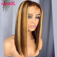 Doores Bob Lace Front Human Hair Wigs For Women Ombre Hair Wig Brown Blonde remy Wig 13x4 Straight Lace Front Wig 250 density H(China)