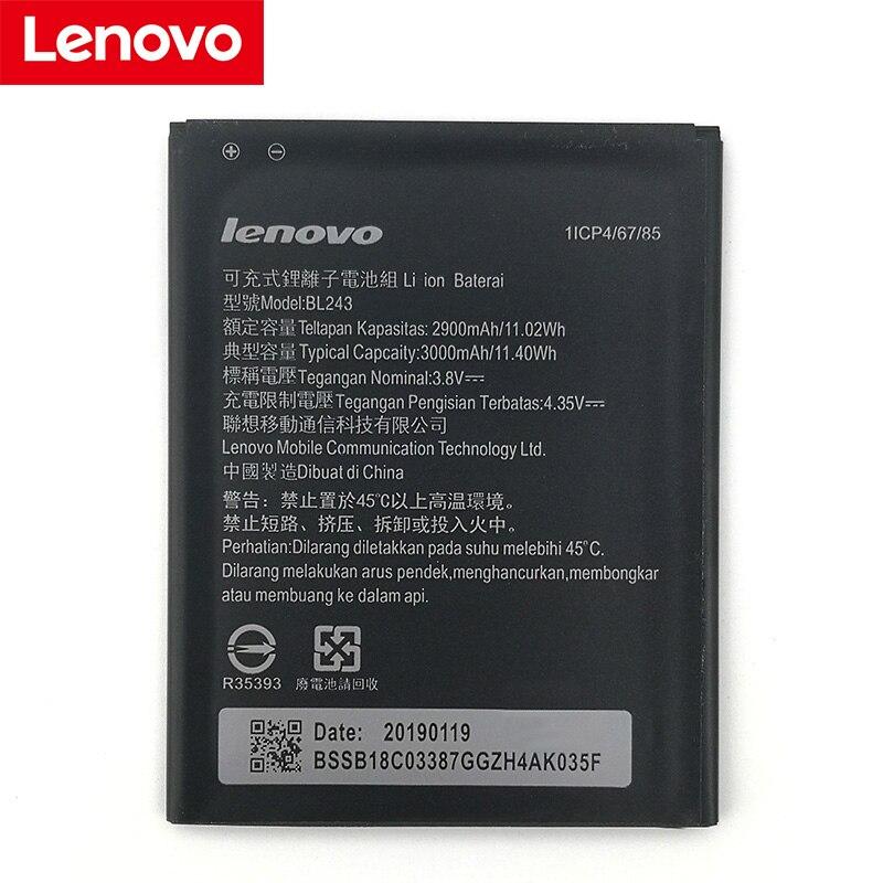 Lenovo 100% Original Bateria Para Lenovo K3 BL243 3000mA Nota K50-T5 K50-T3S A7000 A5500 A5860 A5600 A7600 Telefone + Rastreamento número