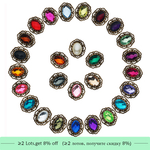 Free shipping oval acrylic rhinestone button flatback can choose colors 20PCS/lot(BTN-5657)