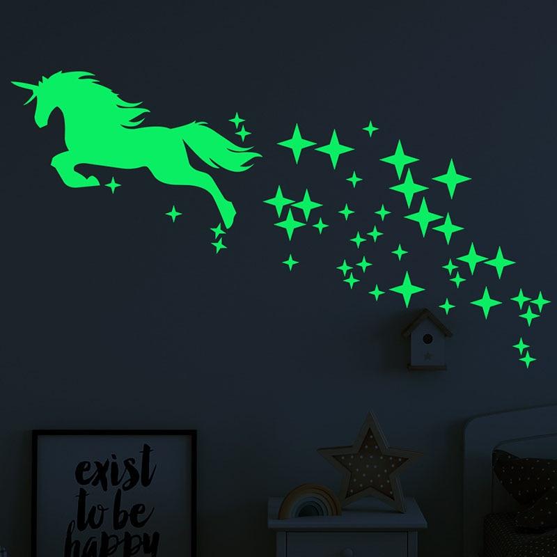 1 Set Unicorn Horse Star Pattern Sticker Fluorescent Creative Luminous Carved Room Wall Sticker Art Decals Home Decoration