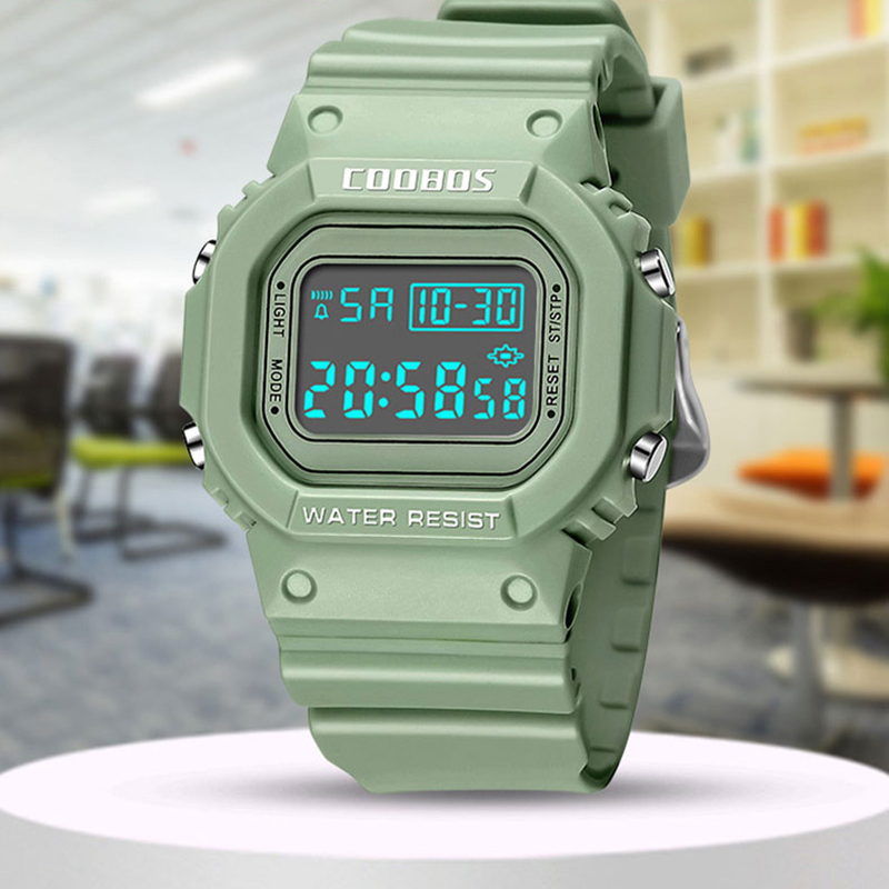 Minimalism Girls Watches Kids Teen Sports Digital Wrist Watch Creative Fresh Green Men Women Waterproof Electronic Clock Relogio