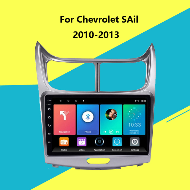 $145.19 2 Din Car Radio Android 8.1 9 Inch Touch screen GPS Navigation Multimedia Player for Chevrolet SAil 2010 2011 2012 2013 Headunit