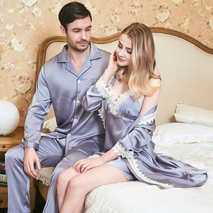 Парные пижамы, 2 шт., пижамный комплект, повседневный Свадебный халат невесты, Сексуальная атласная ночная рубашка, кимоно, Халат